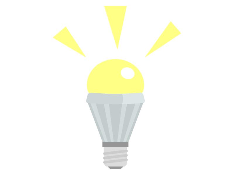 点灯しているLED電球・ライトのイラスト