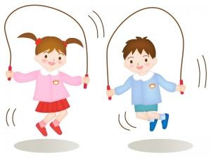 縄跳びで遊ぶ子どものイラスト