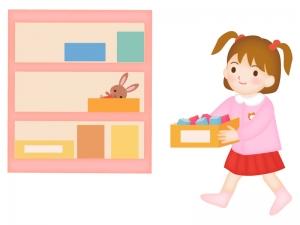 お遊戯の片づけをする園児のイラスト