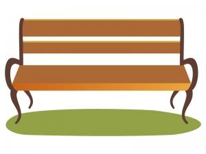 木製のベンチのイラスト