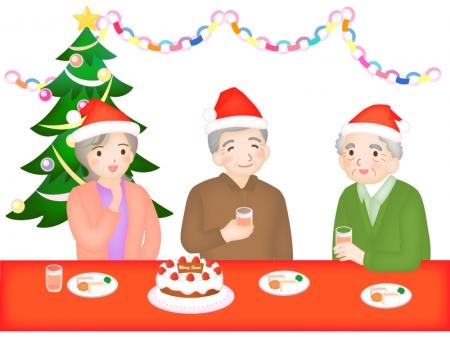 シニア・施設でのクリスマス会のイラスト