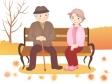 秋の公園でベンチに座る老夫婦のイラスト