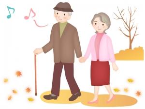 秋の公園で散歩をする老夫婦のイラスト
