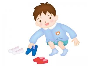 靴を揃える園児のイラスト