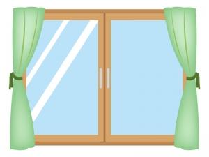 カーテン付きの窓のイラスト