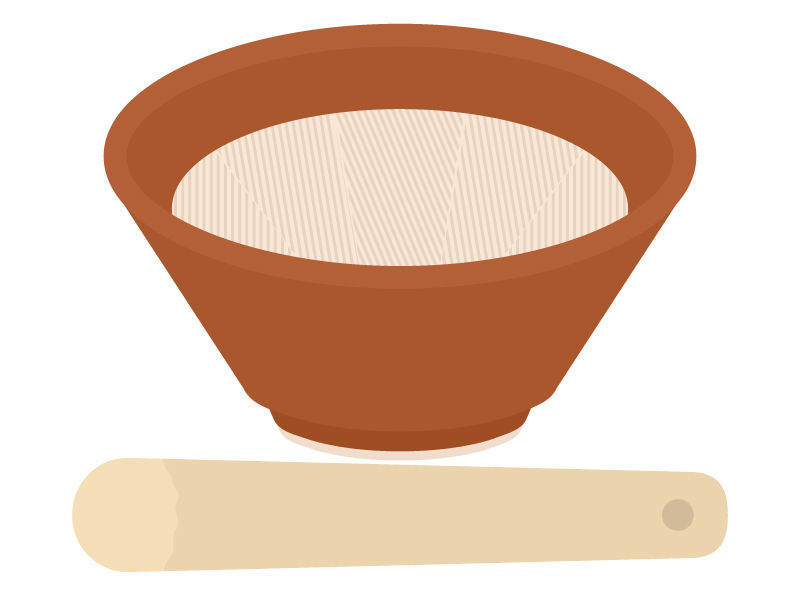 すり鉢とすりこぎ棒のイラスト