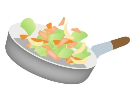 クッキング・野菜炒めを作っているイラスト
