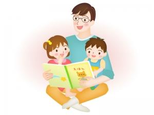 絵本を読み聞かせするイクメンのイラスト