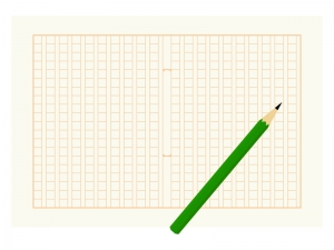 原稿用紙と鉛筆のイラスト