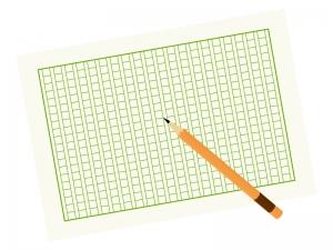 原稿用紙と鉛筆のイラスト02