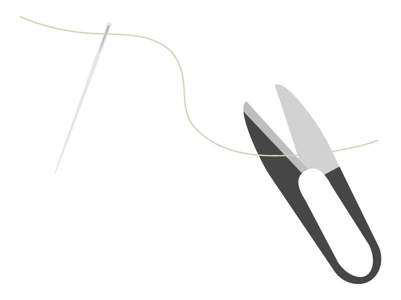 針と糸切りバサミのイラスト