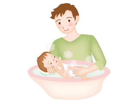 沐浴をしてあげるイクメンのイラスト