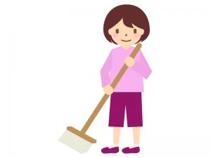 モップで床掃除のイラスト