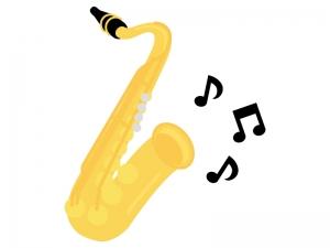 楽器・サクソフォンと音符のイラスト