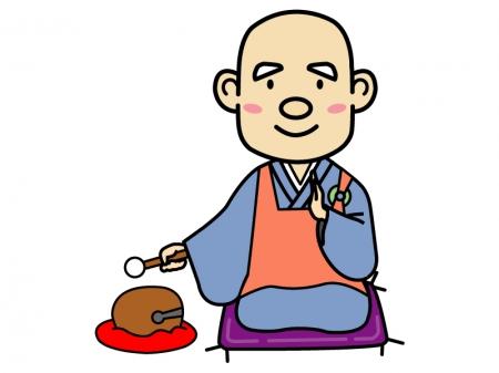 木魚とお坊さんのイラスト