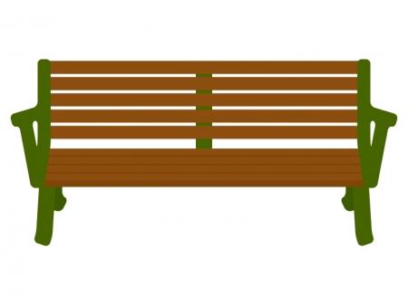 木のベンチのイラスト