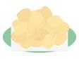 お皿に盛ったポテトチップスのイラスト