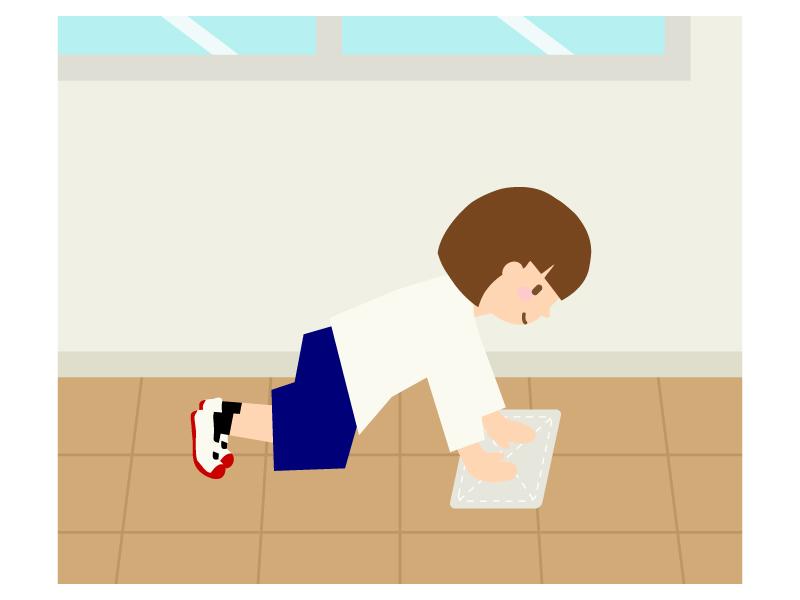 学校で雑巾がけのイラスト02