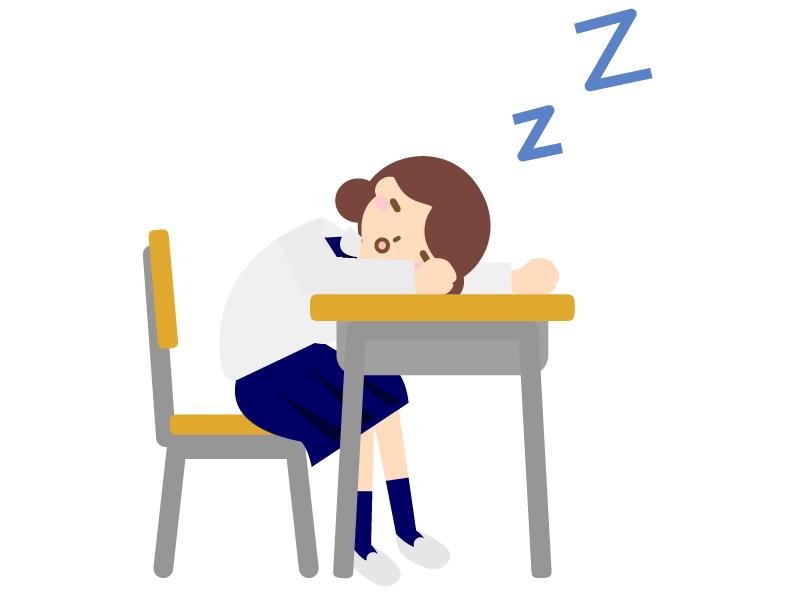 授業中に居眠りのイラスト