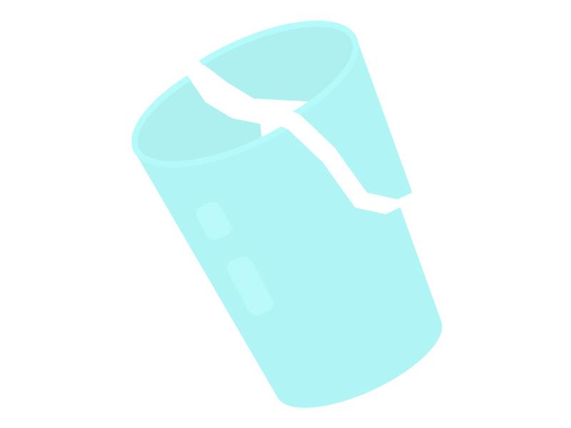 割れたコップのイラスト