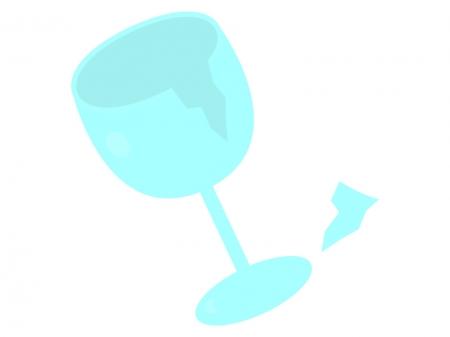 割れたワイングラスのイラスト