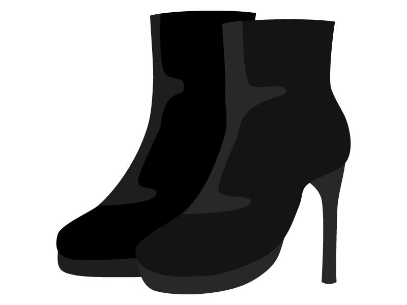 女性用のショートブーツのイラスト