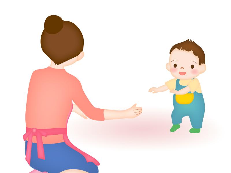 初めて歩く赤ちゃんのイラスト