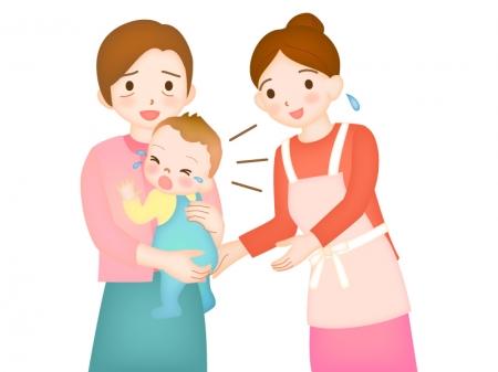 人見知りする赤ちゃんのイラスト