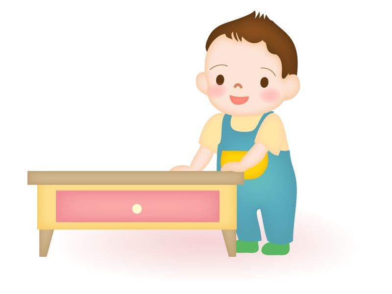 つかまり立ちをする赤ちゃんのイラスト