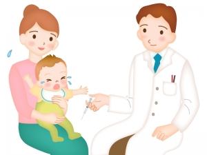 予防接種をする赤ちゃんのイラスト