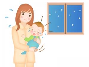 夜泣きをする赤ちゃんのイラスト