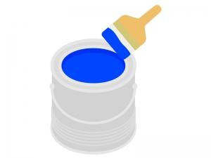 青いペンキのイラスト
