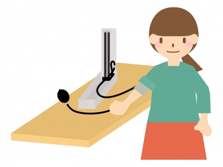 血圧測定している人のイラスト