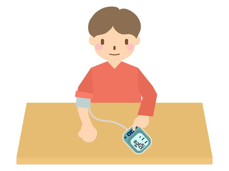 血圧を測る男性のイラスト