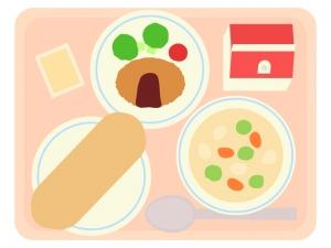 パン食の牛乳付き学校給食のイラスト02