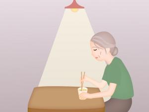 ひとり暮らしの高齢者のイラスト