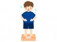 体重計に乗ってお腹を気にする人のイラスト