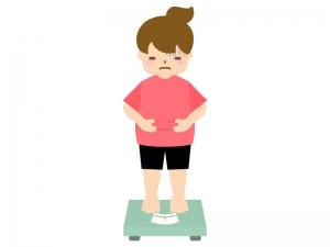 体重計に乗ってお腹を気にする人のイラスト02