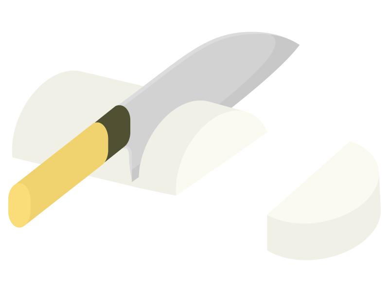 野菜の切り方・半月切りのイラスト