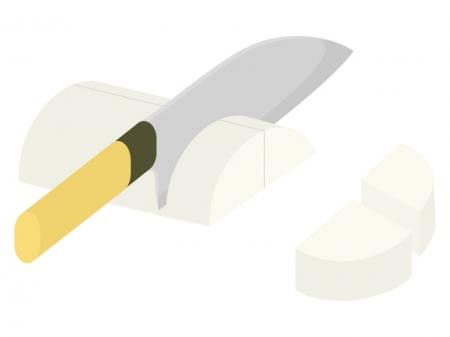 野菜の切り方・いちょう切りのイラスト