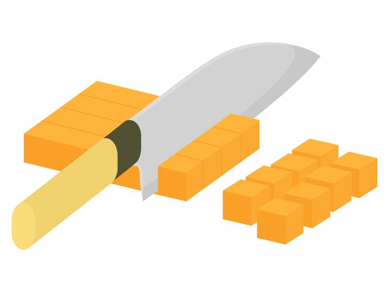 野菜の切り方・さいの目切りのイラスト