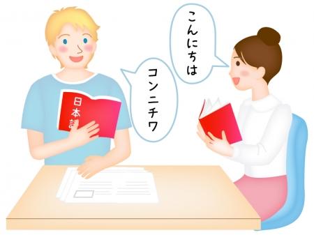 日本語を勉強する外国人のイラスト
