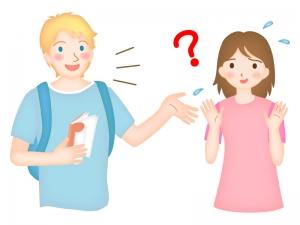 英語に困惑する日本人のイラスト