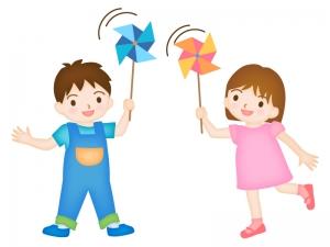 風車で遊ぶ子どものイラスト