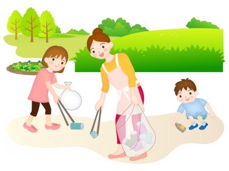 子ども会行事のゴミ拾いのイラスト