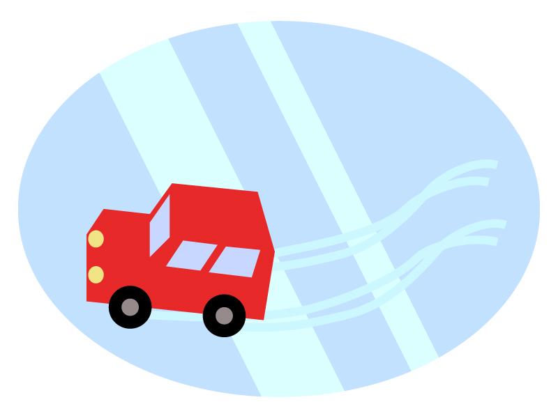 路面凍結で車が滑っているイラスト