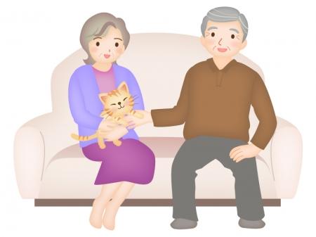 シニア夫婦とペットの猫のイラスト