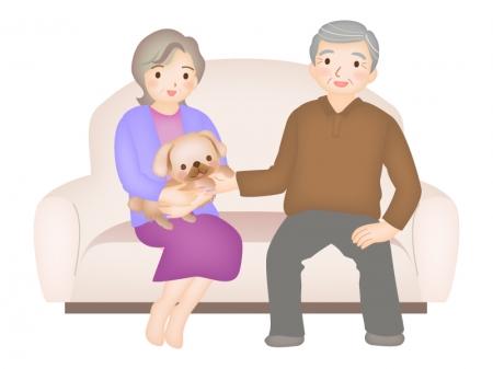 シニア夫婦とペットの犬のイラスト
