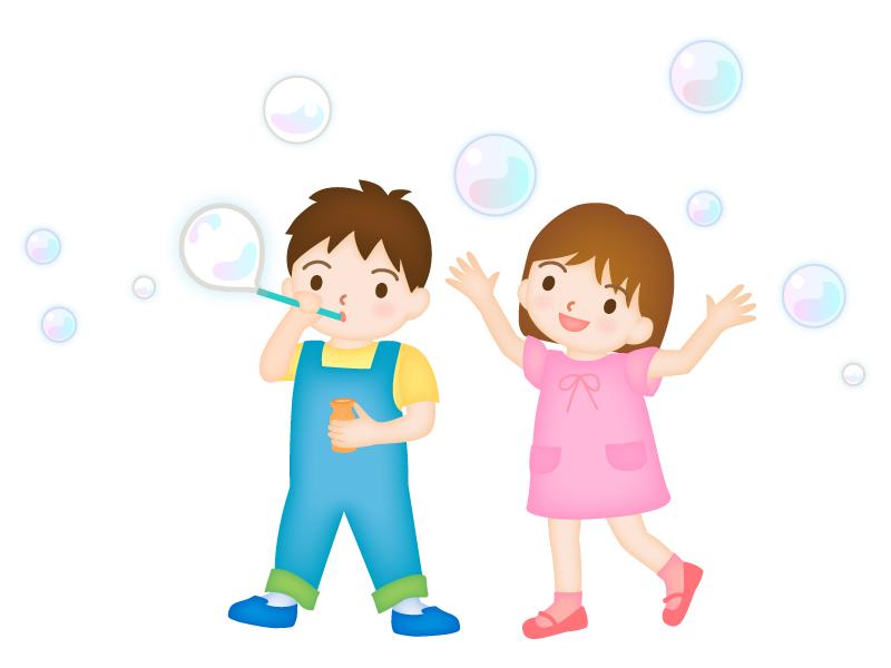 シャボン玉で遊ぶ子どものイラスト