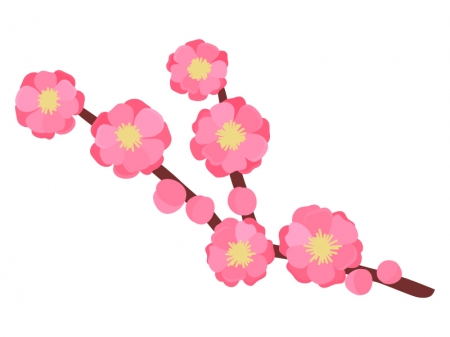 枝付きの桃の花のイラスト